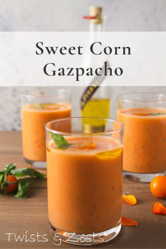 Side shot of 3 glasses of corn gazpacho with text