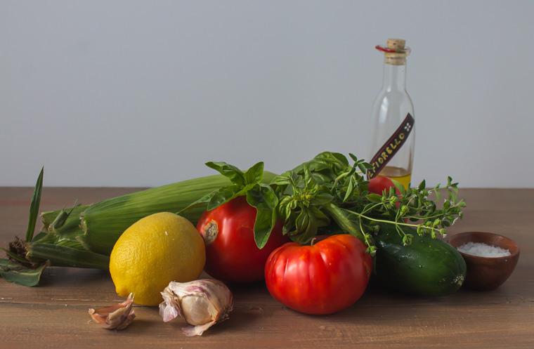 ingredients for corn gazpacho