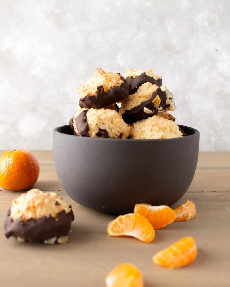 Mandarin cocpnut macaroons in slate bowl