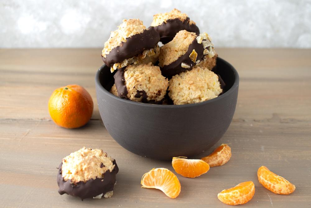 Chocolate Dipped Orange Macaroons