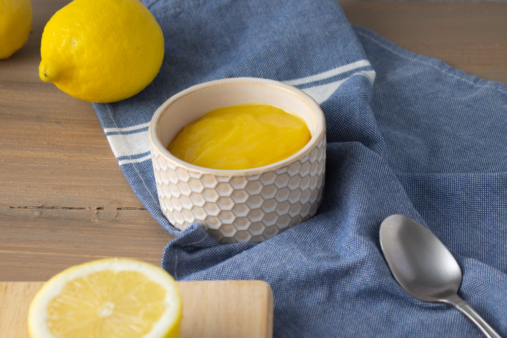 Lemon curd on a blue cloth