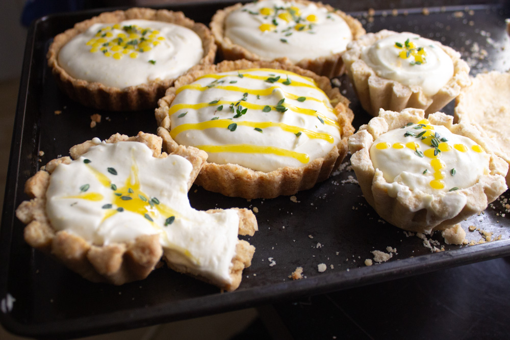 Lemon thyme tarts tests on pan