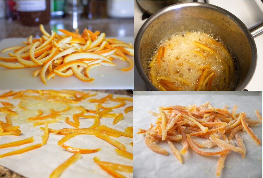 THe stages of making candied orange peel from slicing the peel to tossing in sugar.