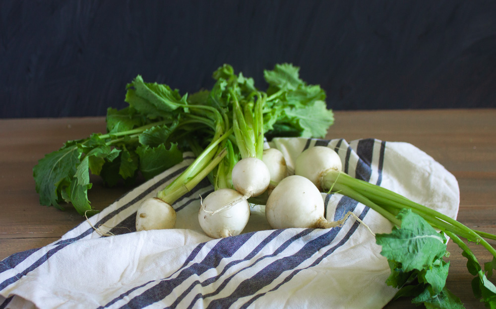 Fresh turnips with greens