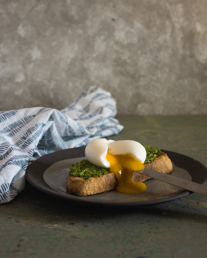 Side view of soft boiled egg on toast with greens spread