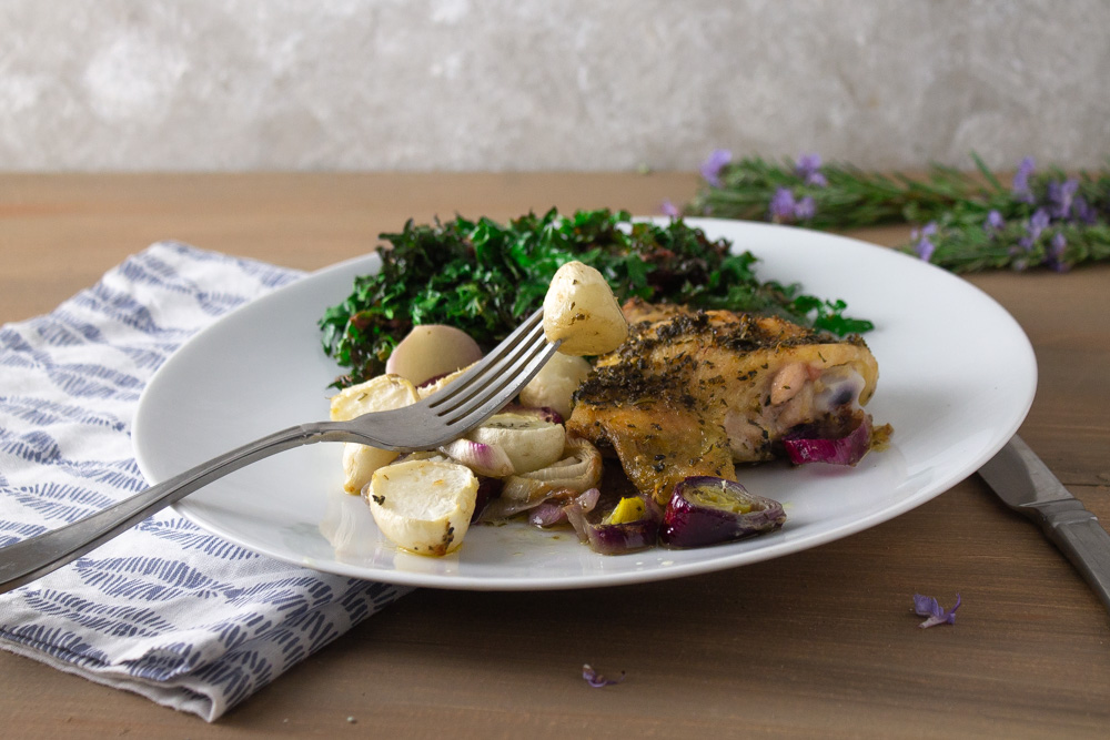 Herbed chicken and turnips with kale