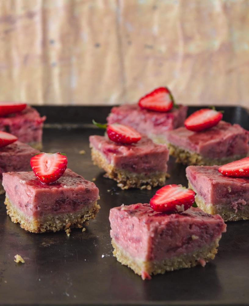 Strawberry bars on baking sheet