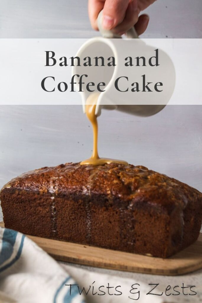 Banana coffee cake with drizzled being poured with text