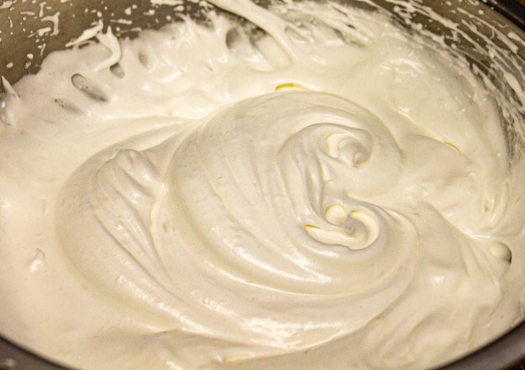 Egg whites whipped to stiff peaks