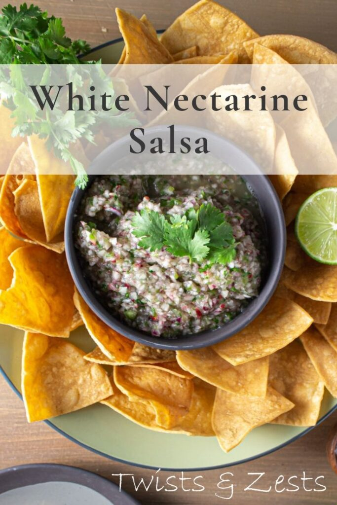 Overhead shot of white nectarine salsa with tortilla chips