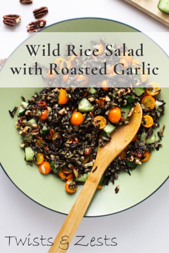 Overhead shot of wild rice salad with text