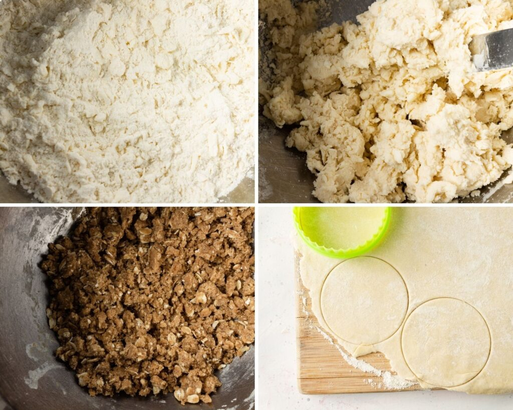 4 process images: butter rubed into flour, water cut into flour mixture, bowl of butter and brown sugar crumble mix, dough rolled out and starting to be cut into rounds
