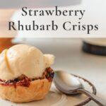Handheld strawberry rhubarb crisps pin