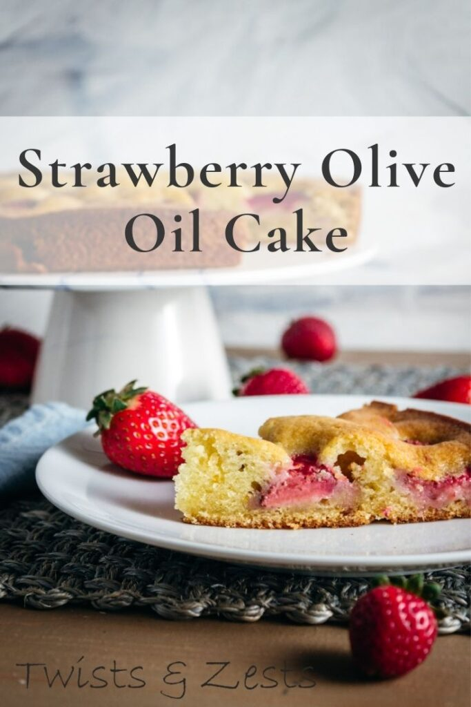 Strawberry olive oil cake pin image