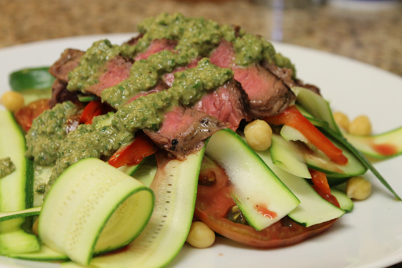 Zucchini and Steak Salad with Basil Dressing