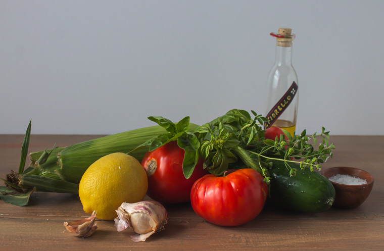 Ingredients for corn tomato gazpacho soup