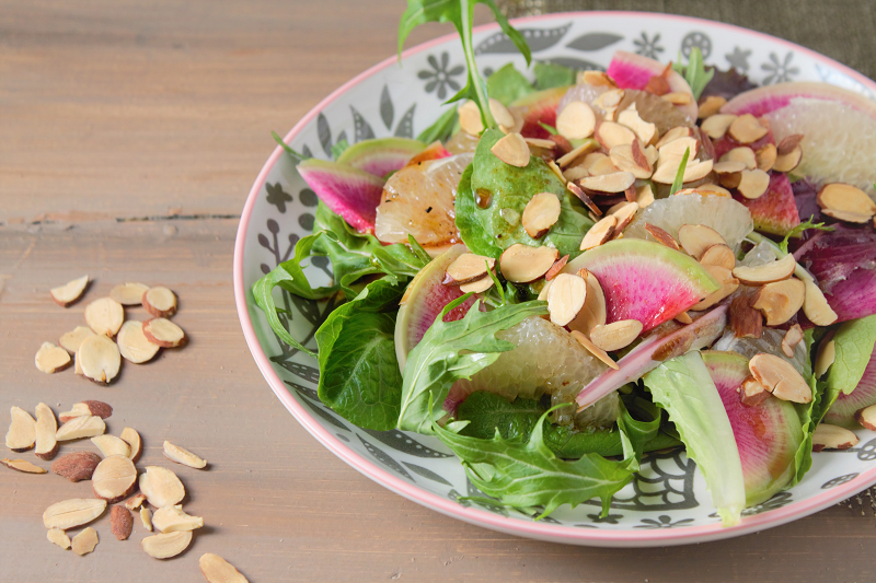 Watermelon Radish and Pomelo Salad