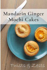 Mandarin ginger butter mochi on blue plate