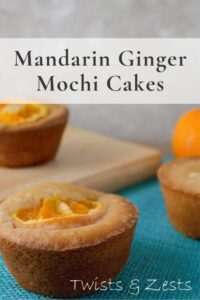 Mandarin ginger butter mochi on blue cloth