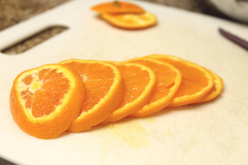 Sliced mandarins ready to go