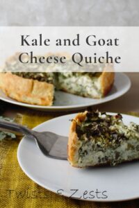 Kale and goat cheese quiche with text