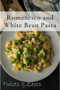 romanesco and white bean pasta