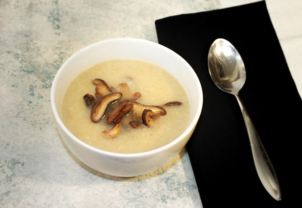 Cauliflower and parsnip soup with shiitakes