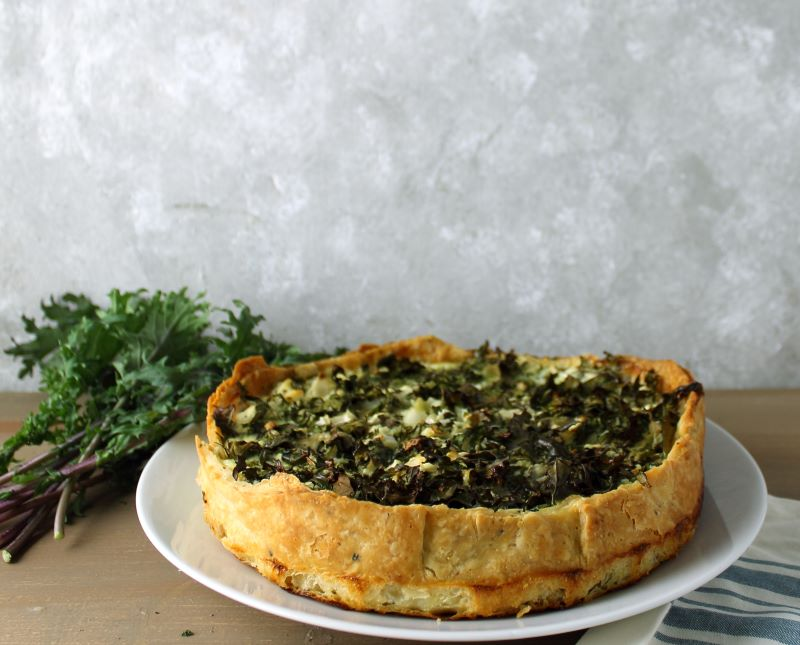 The finished kale and goat cheese quiche