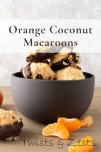 Orange coconut macarrons in bowl