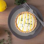 Lemon thyme tart on grey plate