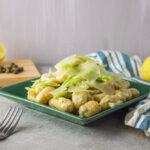Creamy fennel caper gnocchi side shot