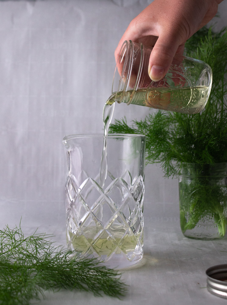 Pouring fennel syrup