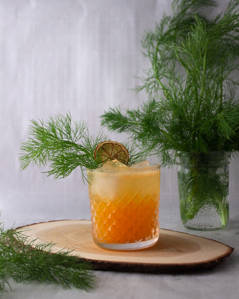 Mandarin, fennel, ginger cocktail with fennel