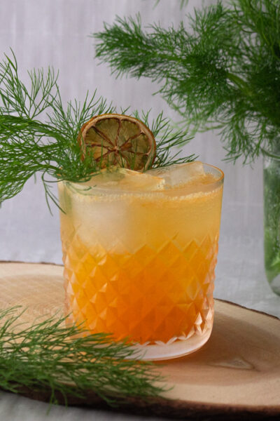 Mandarin, fennel, ginger cocktail