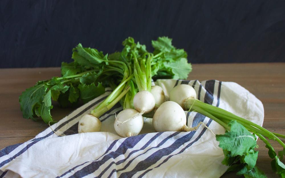 Tokyo turnips on a dish cloth