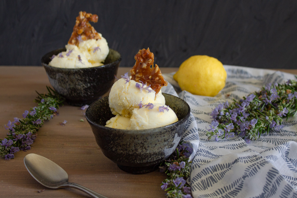 Rosemary Lemon Ice Cream with Almond Toffee