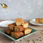 Baklava blondies and dripping honey horizontal
