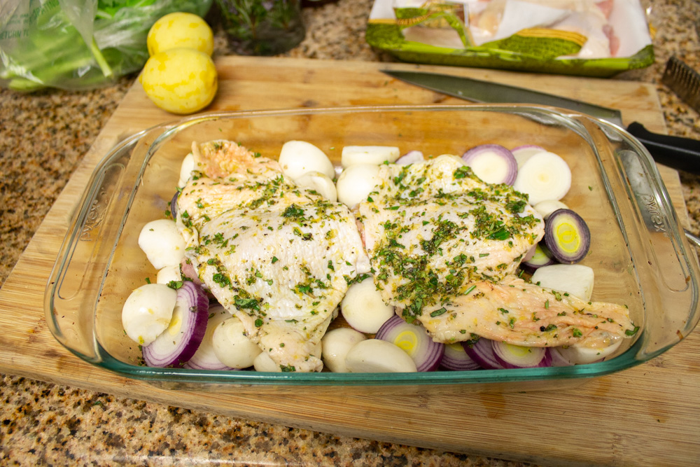 Before cooking chicken and turnips