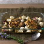 Spring turnips and herbed chicken in baking dish