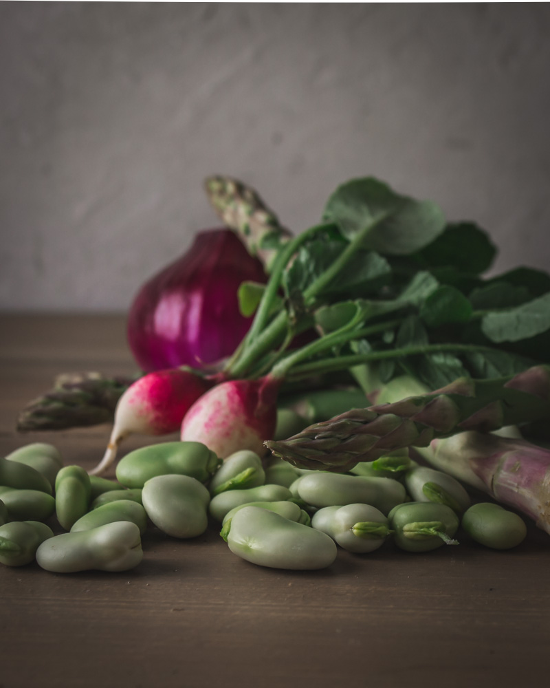 Young red onion, asparagus, fava beans, radishes