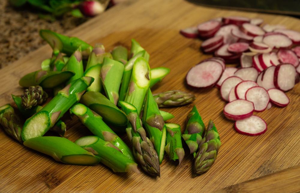 Bias cut asparagus and sliced radishes