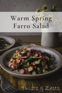 farro and spring vegetable salad with text