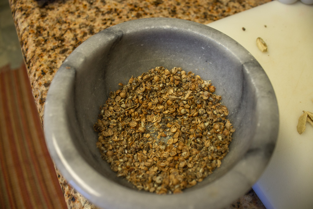 Crushed spices in mortor