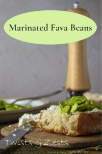 side shot of fava beans on toast with writing