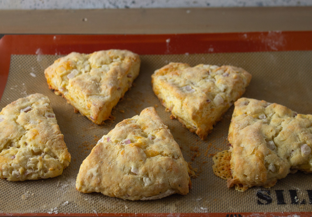 Five scones on a silpat mat