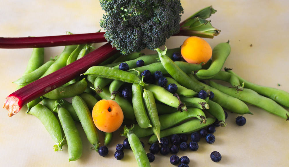 Snap peas, fava beans, apricots, rhubarb, broccoli, blueberries