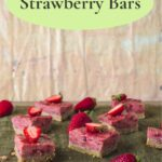 Strawberry bars on green placemat with green text