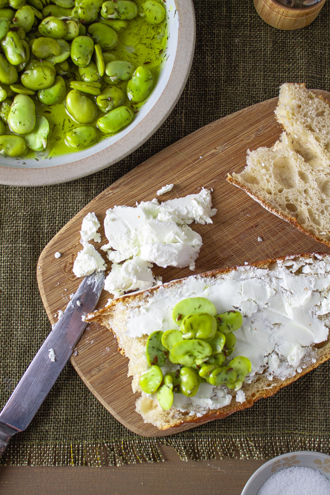Top view of marinated fava beans on bread with goat cheese
