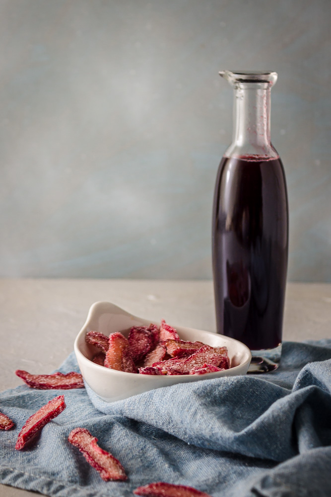 Rhubarb red wine syrup and candied rhubarb