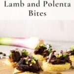 Side view lamb and polenta bites
